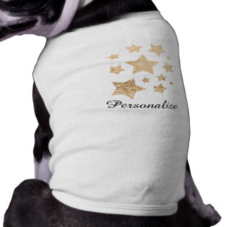 Customize Champagne gold glitter sparkle Stars dog Shirt