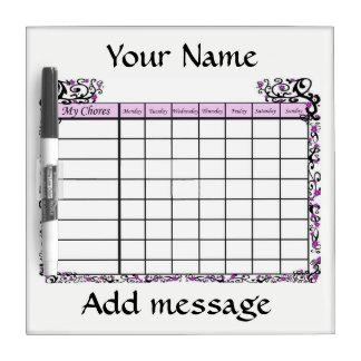 Customize Chore Chart. Dry Erase Board