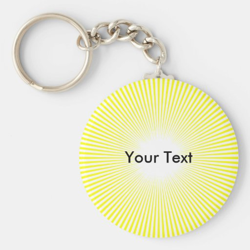 Customize Circle Rays From Center Keyring Yellow Key Chains
