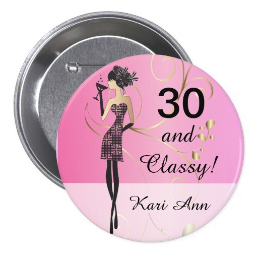 Customize Classy Birthday Button for Her Buttons