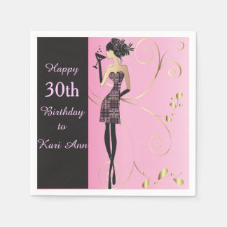 Customize Classy Birthday for Her Disposable Serviette