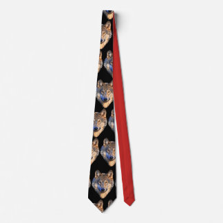 Customize Cool Red-Black Tie with Wolf Head