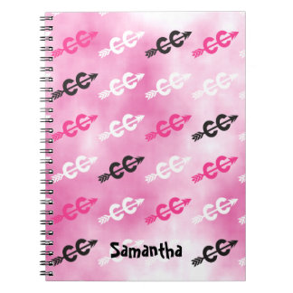 Customize - Cross Country Dazzle PINK Typography Notebooks