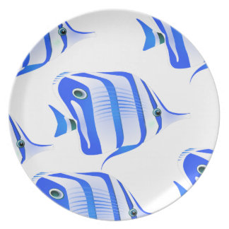 Customize Cute Blue Fishes Party Plate