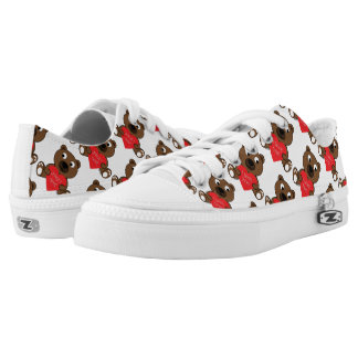 Customize Cute Brown Bear Heart I love You pattern Low Tops