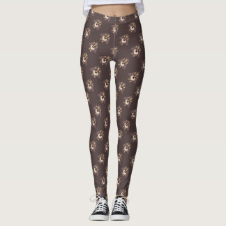 Customize Cute Brown owl with Mustache pattern Leggings