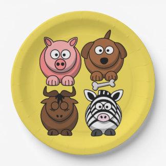 Customize Cute Child Animals Paper Plate