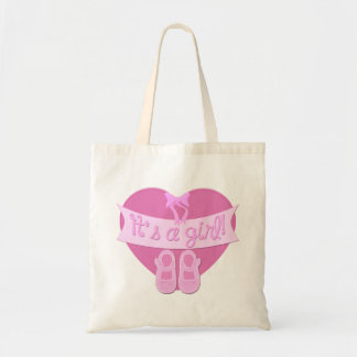 Customize Cute Heart Bow Baby Girl Shower Budget Tote Bag