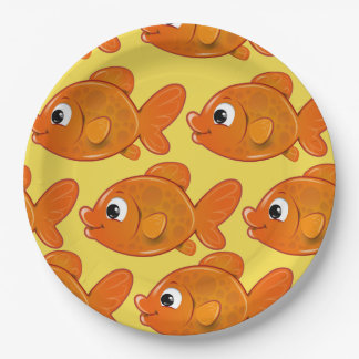 Customize Cute Orange Fish Party Plate for Kids