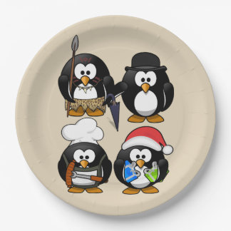 Customize Cute Penguins Party Paper Plate