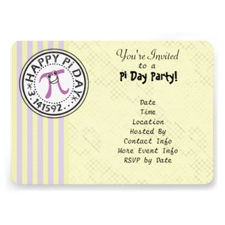 Customize - Cute Striped Happy Pi Day Party Custom Announcements