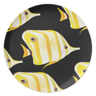 Customize Cute Yellow Fishes Party Plate