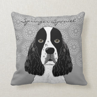 Customize English Springer Spaniel Dog on Gray Cushion