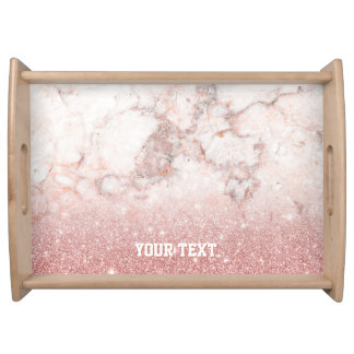 Customize Faux Rose Gold Glitter White Marble Serving Tray