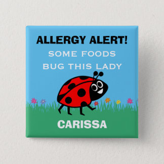 Customize Food Allergy Alert Ladybug Button