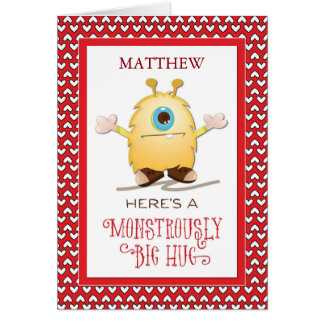 Customize for Any Name Monster Hug Valentine Heart Card