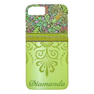 Customize gorgeous green floral iPhone 7 case