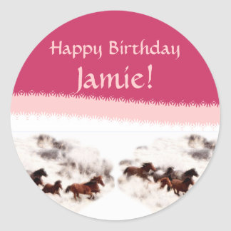 Customize Horse Birthday Invitations and Cards Classic Round Sticker