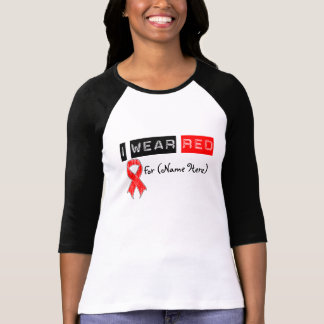 Customize I Wear Red Ribbon Blood Cancer T Shirt