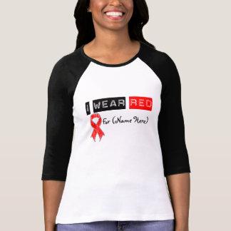 Customize I Wear Red Ribbon Blood Cancer T Shirt