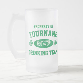 Customize Irish Drinking Team MVP 16 Oz Frosted Glass Beer Mug