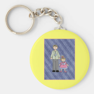Customize It! Dad and Daughter Basic Round Button Key Ring