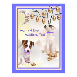 Customize It Jack Russell Puppy Easter Post Card