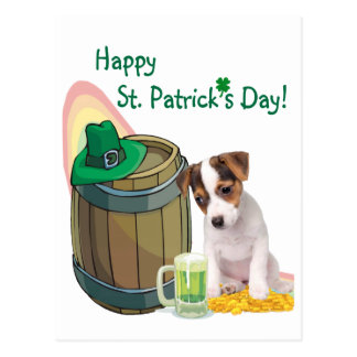 Customize It Jack Russell Puppy St Pattys Day Card Postcard