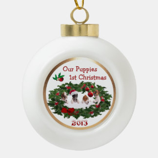 Customize it -  Puppies 1st  Christmas  Collage #2 Ceramic Ball Christmas Ornament
