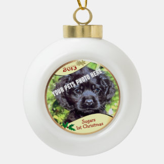 Customize it! - Puppys First Christmas Keepsake Ceramic Ball Christmas Ornament