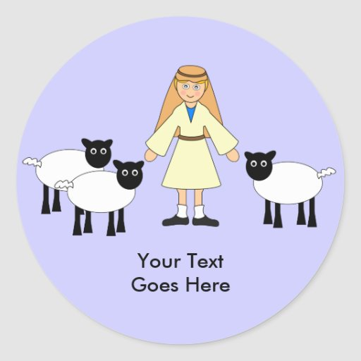 Customize Me -- Children's Nativity Shepherd Boy Round Stickers