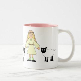 Customize Me -- Children's Nativity Shepherd Girl Two-Tone Mug