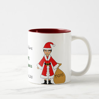 Customize Me -- Cute Christmas Picture (boy) Two-Tone Mug