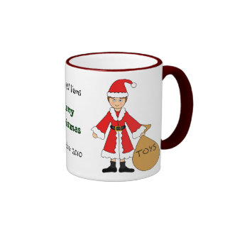 Customize Me -- Cute Christmas Picture (boy) Ringer Mug