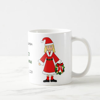 Customize Me -- Cute Christmas Picture (girl) Basic White Mug