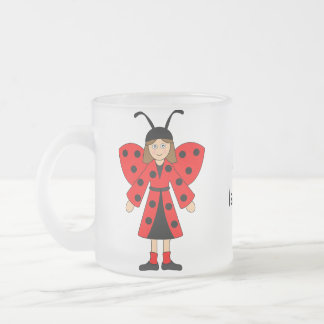 Customize Me -- Girl in Lady Bug costume Frosted Glass Mug