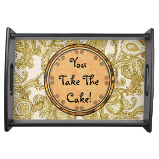 Customize Melange Paisley in Gold Serving Tray