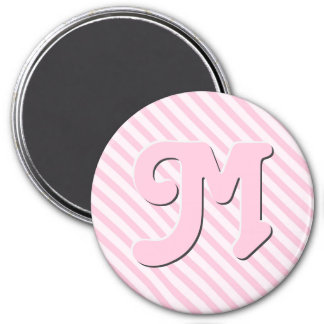 Customize monogram Diagonal Blossom Pink Stripes 7.5 Cm Round Magnet