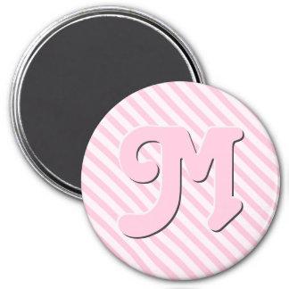 Customize monogram Diagonal Blossom Pink Stripes 7.5 Cm Round Magnet