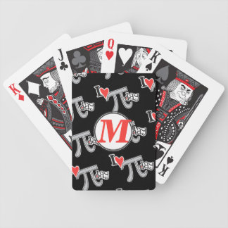 Customize Monogram - I heart Pi Day Bicycle Playing Cards