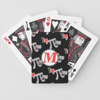 Customize Monogram - I heart Pi Day Poker Deck