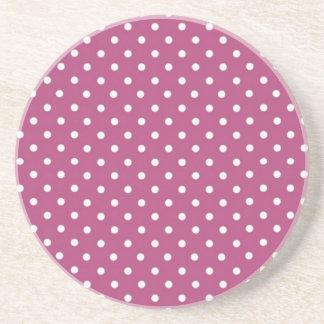 Customize Pink Polka Dot Beverage Coaster