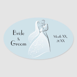 Customize Product Blue Retro Wedding Dancers Coord Oval Sticker