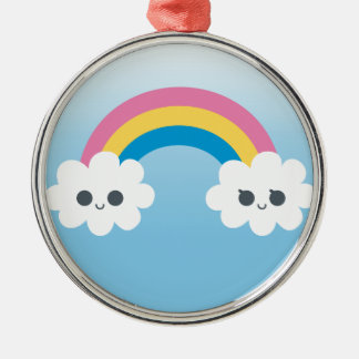Customize PTwo Cute Happy Rainbow Cloudsroduct Ornament