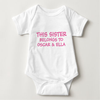 Customize sibling names on baby Sister's Tshirt