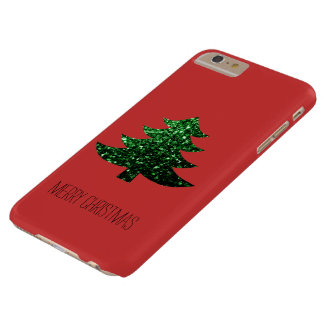 Customize Sparkly Christmas tree green sparkle Red Barely There iPhone 6 Plus Case