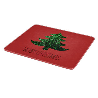 Customize Sparkly Christmas tree green sparkle Red Cutting Board