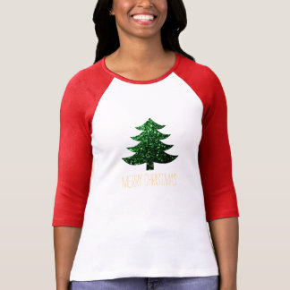 Customize Sparkly Christmas tree green sparkles T-Shirt