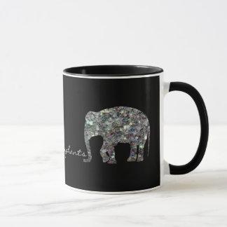Customize Sparkly colorful silver mosaic Elephants Mug