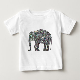 Customize Sparkly colourful silver mosaic Elephant Baby T-Shirt